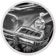 1957 Studebaker Golden Hawk Bw  Round Beach Towel