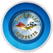 1958 Chevrolet Corvette Emblem Round Beach Towel