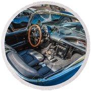 1959 Chevy Corvette Convertible Painted  Round Beach Towel