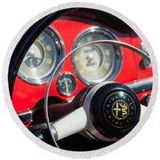 1961 Alfa Romeo Giulietta Spider Steering Wheel Emblem -1239c Round Beach Towel