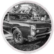1967 Pontiac Gto Bw Round Beach Towel