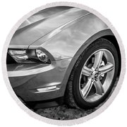 2010 Ford Mustang Convertible Bw Round Beach Towel
