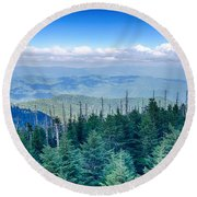 A Wide View Of The Great Smoky Mountains From The Top Of Clingma Round Beach Towel
