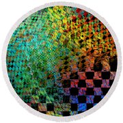 Abstract Checkered Pattern Fractal Flame Round Beach Towel by Keith Webber Jr