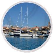 Aegina Port Round Beach Towel