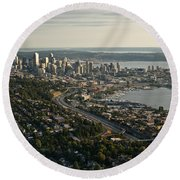 Aerial View Of Seattle Round Beach Towel