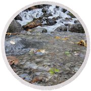 Alaskan Waterfall Round Beach Towel