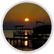 An Outer Banks North Carolina Sunset Round Beach Towel