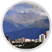 Anchorage Skyline Round Beach Towel