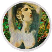 Aphrodite And  Cyprus Map Round Beach Towel