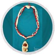 Aphrodite Genetyllis Necklace Round Beach Towel