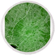 Athens Street Map - Athens Greece Road Map Art On Color Round Beach Towel