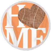 Austin Street Map Home Heart - Austin Texas Road Map In A Heart Round Beach Towel