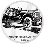 Automobile Cartoon, 1914 Round Beach Towel