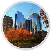 Autumn In Boston Round Beach Towel
