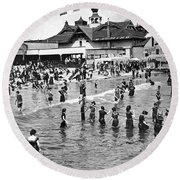 Bathers At Coney Island Round Beach Towel