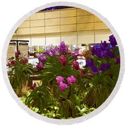Beautiful Flowers Inside The Changi Airport In Singapore Round Beach Towel