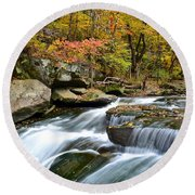 Berea Falls Round Beach Towel by Frozen in Time Fine Art Photography