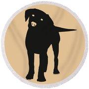 Black Labrador Round Beach Towel