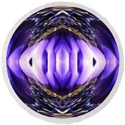 Blue Poppy Fish Abstract Round Beach Towel