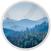 Blue Ridge Parkway Winter Scenes In February Round Beach Towel