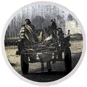 Bundled Up For The Cold In A Foggy Day In Rural India Round Beach Towel