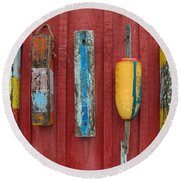 Buoys At Rockport Motif Number One Lobster Shack Maritime Round Beach Towel