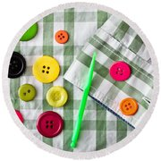 Buttons Round Beach Towel