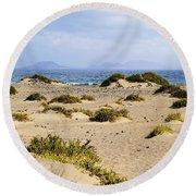 Caleta De Famara Beach On Lanzarote Round Beach Towel
