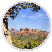 Cathedral Rock Framed By Juniper In Sedona Arizona Round Beach Towel