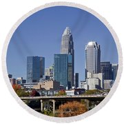 Charlotte Skyline Round Beach Towel by Jill Lang