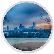 Charlotte The Queen City Skyline At Sunrise Round Beach Towel