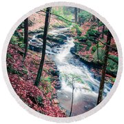 Chesterfield Gorge New Hampshire Round Beach Towel by Edward Fielding