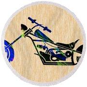 Chopper Motorcycle Round Beach Towel