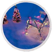 Christmas Lights On Trees And Lawn Chair Round Beach Towel