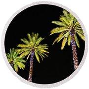 4 Christmas Palms Round Beach Towel