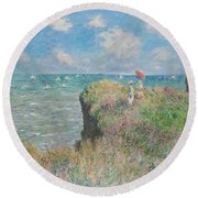 Cliff Walk At Pourville Round Beach Towel