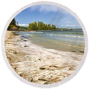 Coast Of Pacific Ocean On Vancouver Island Round Beach Towel