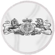 Coat Of Arms Great Britain Round Beach Towel
