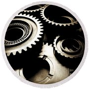Cogs Round Beach Towel by Les Cunliffe