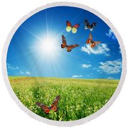Colorful Buttefly Spring Field Round Beach Towel
