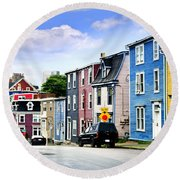 Colorful Houses In St. John's Round Beach Towel