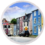 Colorful Houses In St. John's Round Beach Towel by Elena Elisseeva