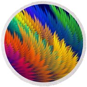Computer Generated Abstract Fractal Flame Round Beach Towel