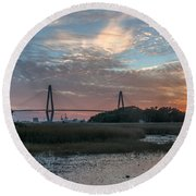 Charleston Cooper River Bridge Round Beach Towel