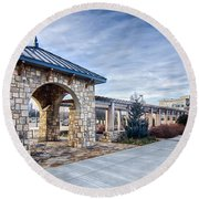 Cultured Stone Terrace Trellis Details Near Park In A City  Round Beach Towel