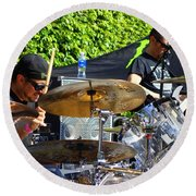 Dave Lombardo And Pancho Tomaselli Round Beach Towel