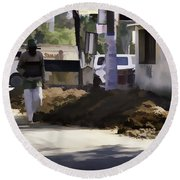Digging A Ditch At The Side Of A Road In Roorkee Round Beach Towel