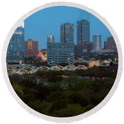 Downtown Fort Worth Texas Round Beach Towel