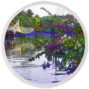 Ducks And Flowers In Lagoon Water Round Beach Towel